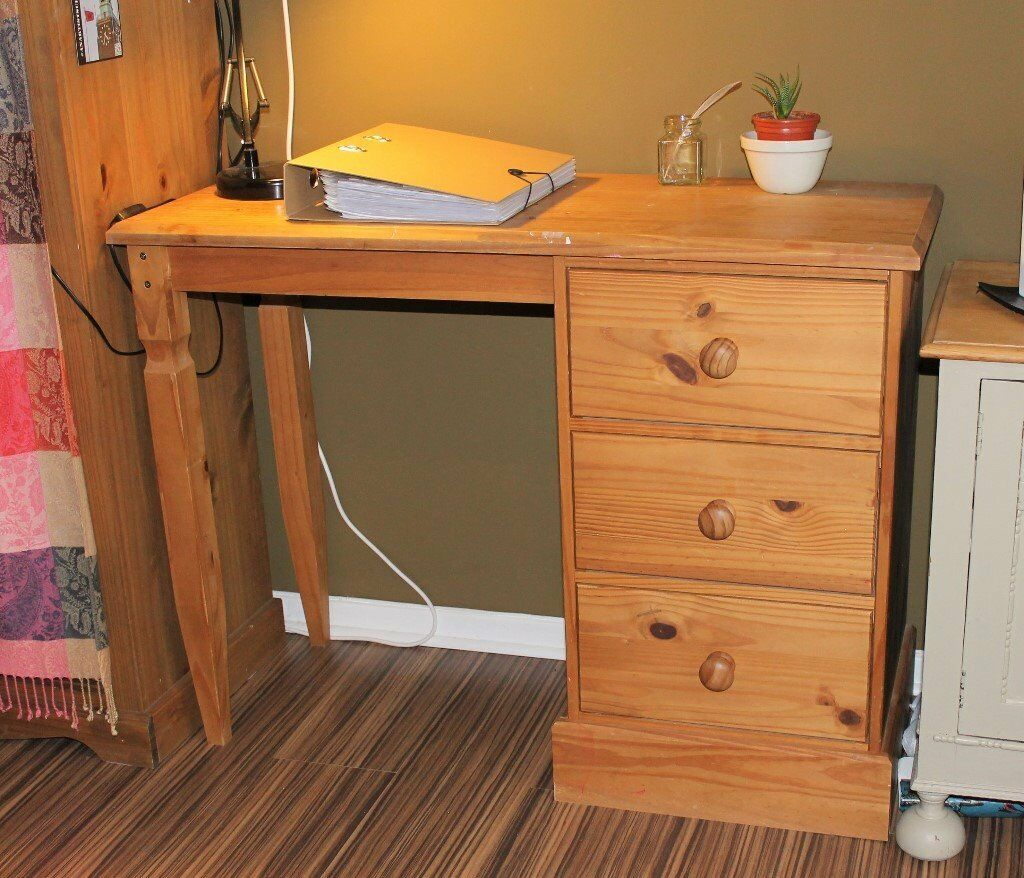 Lovely, Pine Desk W/x3 Drawers35 ONOin Norwich, NorfolkGumtree - Lovely pine desk with x3 roomy side drawers, with original handles. It has really nice, decorative legs, with ever so slight split where its connected to the desk, but doesnt cause any issues/wobble at all! It has been much loved and so has marks of...