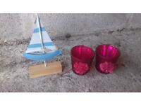 Boat ornament/2x glass ornaments