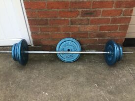 SOLID BARBELL PLUS 65KG OF BODY SCULPTURE CAST IRON WEIGHT PLATES