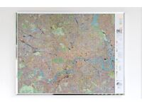 Large map of central London with transport, routes, cycling routes, major buildings, parks, etc.