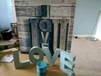 Canvas, LOVE letting and candle