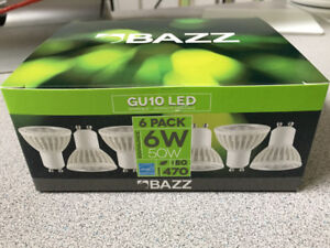 BRAND NEW - BAZZ 6-Pack 50W Dimmable Soft White GU10 LED Bulbs