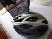 Bike Helmet and black basket for bike