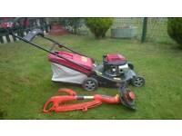 Honda Self-Propelled Petrol Lawnmower + Electric. Flymo Strimmer