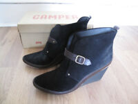 Camper Ladies shoe-boots 'Julia' Size Eu40 (UK7) Black Suede/Brown Trim Wedges