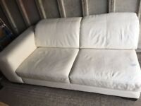 Sofa , cream leather, great condition .Both are 3 seaters and get joint togather like corner sofa .