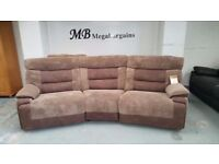 Ex Display ScS Nelson Brown Curved 4 Seater Manual Recliner Sofa **CAN DELIVER**