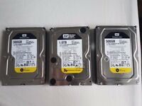 "Job lot 2x500 1x1TB Western Digital Caviar Black WD 7200 RPM,8.89 cm (3.5"")"