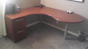 MOVING SALE! 3 piece office desk with detachable filing cabinet.