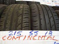 MATCHING SET 215 55 18 CONTIS 7MM TREAD £40 EACH SUP & FITD £150 SET OF 4 (loads more av} TXT S