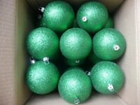 Carton (144) of green glittery/ sparkley Baubles