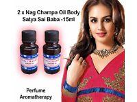 Nag Champa Oil Perfume Body Bath Perfume Aromatherapy Original Sai Baba 15ml x 2 Bottles