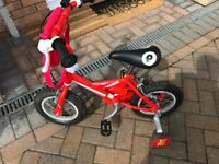Boy's Postman Pat bike with stabilisers