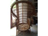 Cane Peacock chair 60's Boho