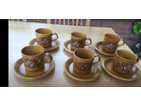 1970's 6 cup and saucer set