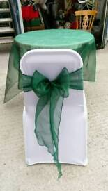 Emerald green organza sashes and table cloths