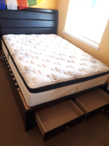 Comfy Q-size Mattress & Bedframe w/ Headboard, Storage Footboard