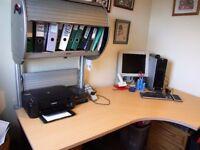 Large Corner Desk with Filing Cabinet and Fluorescent Light