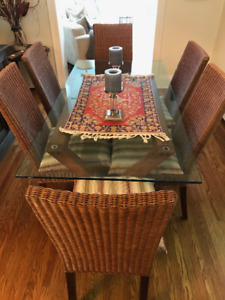 Caban Glass Table 6 Bamboo Chairs And Matching PillowsGlass Buy Or Sell Dining Sets In Ontario Kijiji