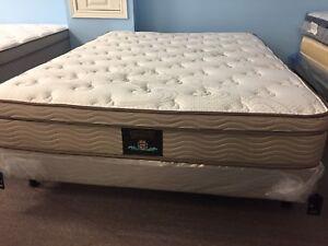 Brand new bamboo top euro pillow top queen mattress set