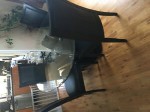 Glass table and 4 chairs dinning set