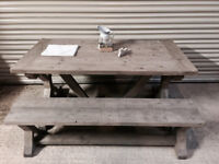 New Handmade Rustic Trestle Style Grey Farmhouse Dining Table + Bench Reclaimed Wood