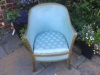 Blue Wicker commode chair