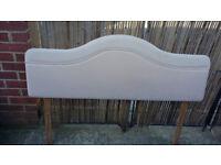 creamy pinkish 52 inch long padded headboard