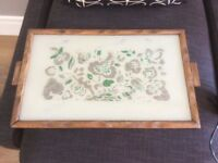 Glass and wooden ornate tray