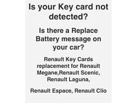 Renault replacement Keycards for Megane, Scenic, Laguna, Espace & Clio same day service.