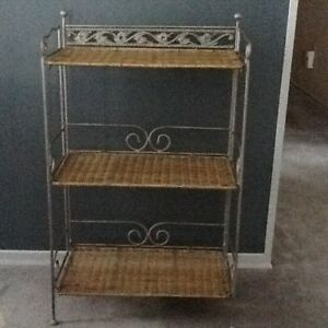 Wicker and steel shelving unit
