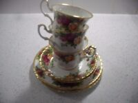 royal albert old country roses tea set 6 x trios red vintage antique like new condition