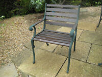 4 Cast Iron and Wood Garden Chairs