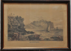 Antique pencil sketch of Scarborough Bluffs 1880 signed