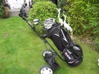 WILSON STAFF MENS RIGHT HAND GOLF CLUBS IN BAG WITH TROLLEY