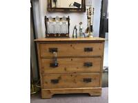 19th century waxed pine chest of drawers