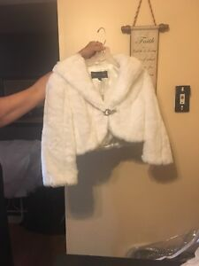 White Faux Fur Bridal Jacket