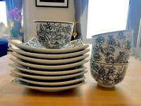 As new porcelain plates & bowls, Asian, hand-painted design, dishwasher & microwave safe