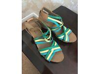 Clarks wedge heel ladies sandels. Yellow and green