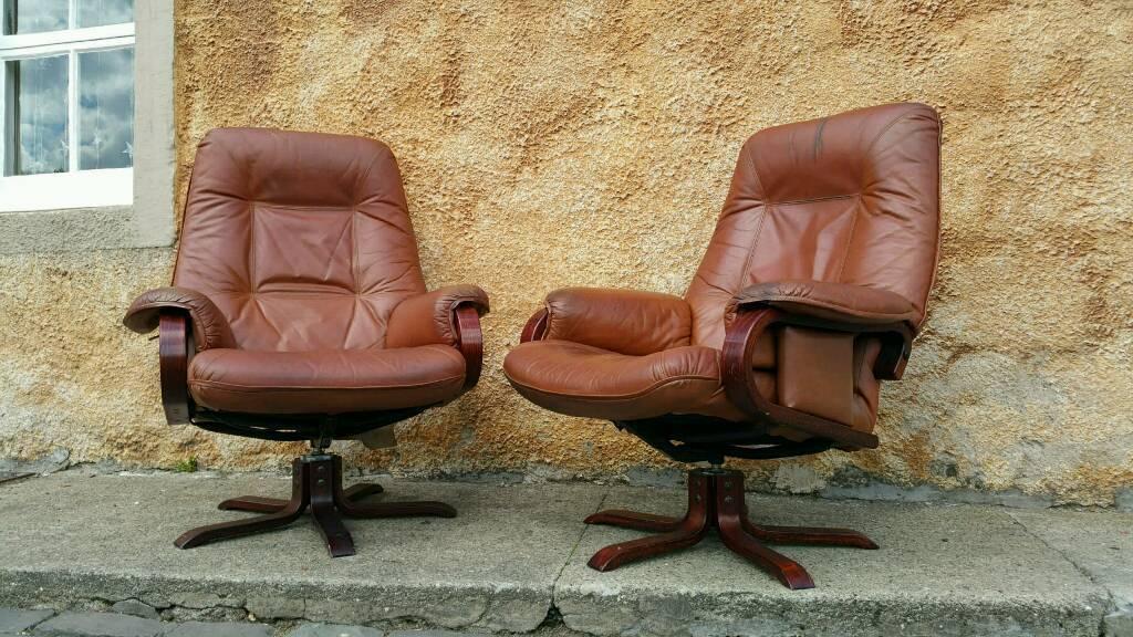 Vintage Swedish Tan Hide Leather Swivel Recliner Armchairs Danish Scandi