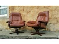 Vintage - Swedish Mobel Leather Swivel Recliner ArmChairs