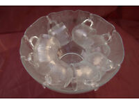 Vintage 1986 Punch Bowl Set, with (8) accompanying matching cups