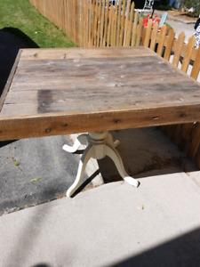 Barn wood pedestal table