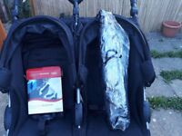 b agile double stroller with car seat connectors