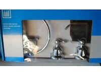 3 piece chrome cloakroom/bathroom set. Unused still boxed (loo roll holder, towel ring, robe hook)