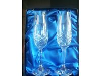 2 Royal Scott hand cut leaded crystal Champagne flutes. brand new boxed. wedding engagement Cost £55
