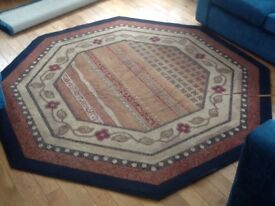 Hexagon Shaped Rug ( Blue & Browns and Red)