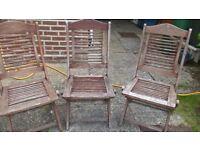 3 Teak Garden Chairs