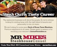 MR MIKES wants you! - Back of House Team Members