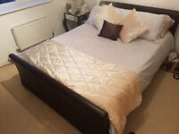 £50 King Size Bed Frame Brown faux Leather with drawers